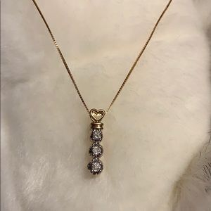 14k Gold Chain with 10k Gold & diamond Pendant